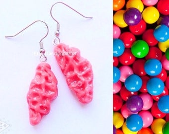 Bright pink bubble gum earring,funny gag gift for women,white elephant gift,chewing gum jewelry,crazy bubble gum earring,fake food jewelry