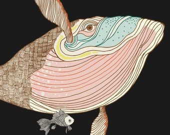 "whale naif ""naive"" inspired illustration, limited edition print"