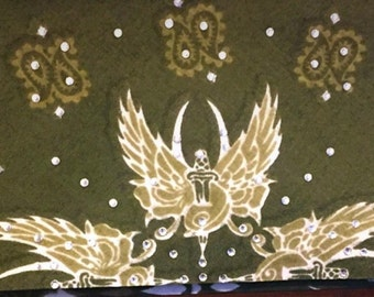 Olive Green Paisley Bling Bandana with wings