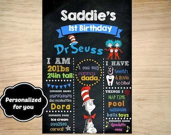 Dr Seuss Birthday sign,Dr Seuss Birthday,Dr Seuss sign,JPG file,sign,Birthday sign,Dr Seuss,Dr Seuss party, Dr Seuss photo sign