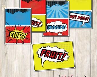 SuperHero Food Tents, Super Hero Food Tents, Super Hero Food Cards, SuperHero Food Cards, SuperHero Food Labels, Super Hero Food Labels