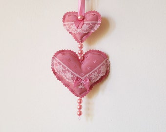 Pink Hanging Heart Ornament with Lace, Fabric Heart Decoration, Nursery Decor, Girl's Room Decor, Embellished Hearts, Gift for Her