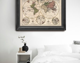 Vintage World Map, Old World Map, Map of Continents, Antique Style World Map, Old Wall Map, Vintage Map- CP046
