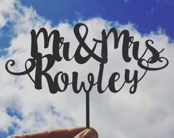 Mr & Mrs Script Wedding Cake Topper Custom Made Laser Cut Personalised Fun Cute Individual