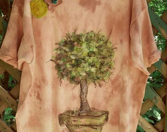 RESERVED Preseason SALE Rustic Topiary Ladies XL Tunic Ready to Ship KellyJacksonDesign