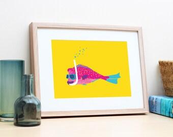 Queensland tropical summer wall art. Seaside beach house coastal home decor. Fish poster print. Gift for girlfriend, best friend or sister.