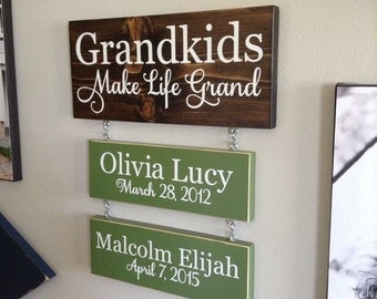 Grandkids Make Life Grand Sign with Hanging Names & Birth Dates