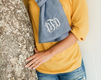 Chambray Scarf monogrammed scarf personalized scarf