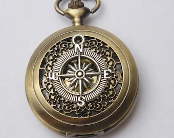 Steampunk pocket WATCH,Legendary Pocket Watch Necklace, Antique bronze compass Pocket Watch Necklace