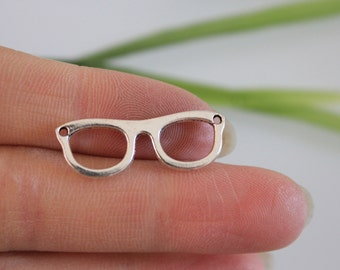 silver glasses charm,glasses pendant,glasses bead,diy pendant supplies, 10*28mm