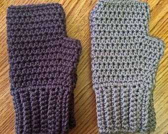 Men's Large Fingerless Gloves Ribbed Wristband Mittens Handmade Crochet