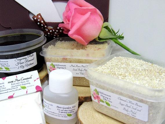 Natural Pink Rose Petal Scrub Sugaring Paste Deluxe Starter Kit by JBHomemadeShop