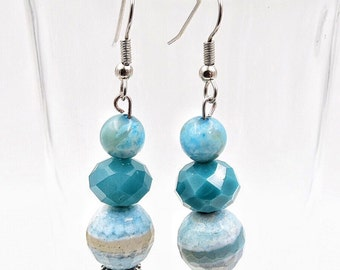 Turquoise earrings, teal earrings, long dangle earrings, stainless steel earrings, aqua blue agate earrings, crystal earrings, sea green
