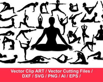 yoga clip art  etsy