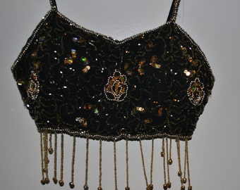 Gorgeous Vintage Black Belly Dance Bra Top with Bells, Beads and Sequins!
