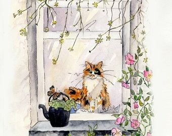 Cat Watercolour painting PRINT loose contemporary painting  - original