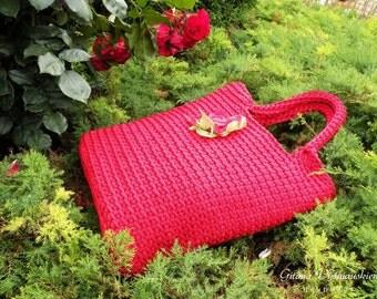 Knitted Bag/ Rope Bag/Red bag/ Handmade Bag/ Crochet Bag/ Unique bag/ Beach Bag/ Summer Handbag/ Market Bags/ Gift for wife / Summer bag