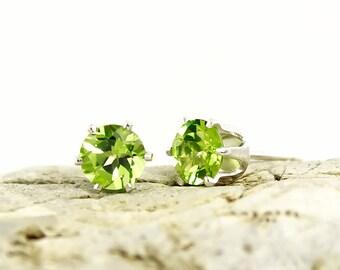 Genuine Natural Peridot 4mm or 5mm Stud Earrings in 925 Sterling Silver Studs, Natural Gemstone earrings, August Birthstone, Green studs