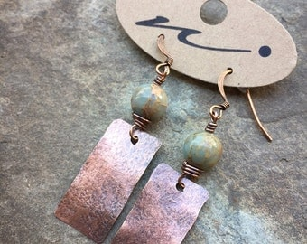 Rectangle Oxidized Copper Earrings