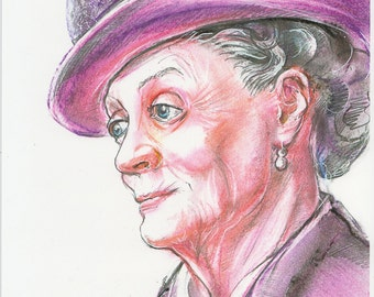 Downton Abbey Lady Violet Dowager Countess Portrait of Maggie Smith Fine Art Print From Original Drawing Wall Art Decor Celebrity Portrait