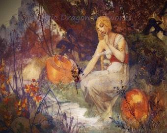 "Alphonse Mucha ""Prophetess"" 1896 Reproduction Digital Print Woman Prophet by Stream Psychic Prophecy Divination Prognostication"