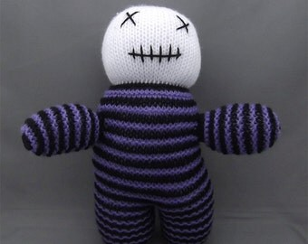 Hand Knitted Zombie! Black & Purple, Gothic