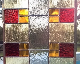 Stained Glass Panel, Red & Yellow Prairie