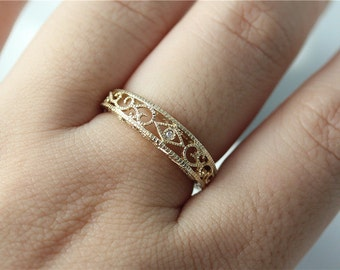 Filigree Band Solid 14K Yellow Gold Filigree Wedding Band Unique Wedding Ring Filigree Ring Promise Ring Vintage Ring Anniversary Ring