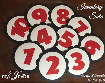 INVENTORY SALE –TABLE Numbers, Mickey Inspired Scallop Die Cut