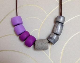 Purple, granite, and gunmetal necklace