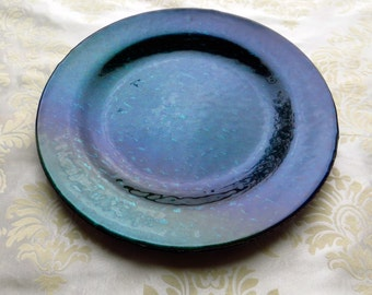 Fused Glass Serving Plate in Iridescent Ultramarine