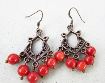 SALE 20% OFF Red Chandelier Earrings Handmade Antique Copper Red Coral Chandelier Earrings