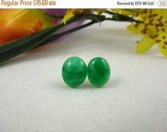 SALE 20% OFF Emerald Green Aventurine Oval Stud Earrings Handmade Sterling Silver Post Earrings