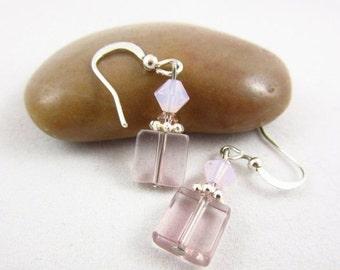 SALE 20% OFF Pink Glass Earrings Handmade Dangle Earrings