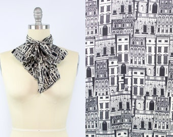 Vintage Black and White House Scarf / Hair Accessory / Hair Wrap / Homes / Buildings / Architecture / Women's Accessories