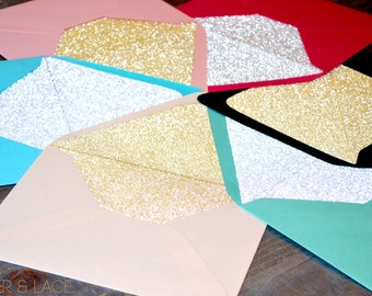50 pack Glitter Envelope Liners - Silver Glitter & Gold Glitter Liners - For Wedding Invitations and Special Occasions - Euro Flap Liners