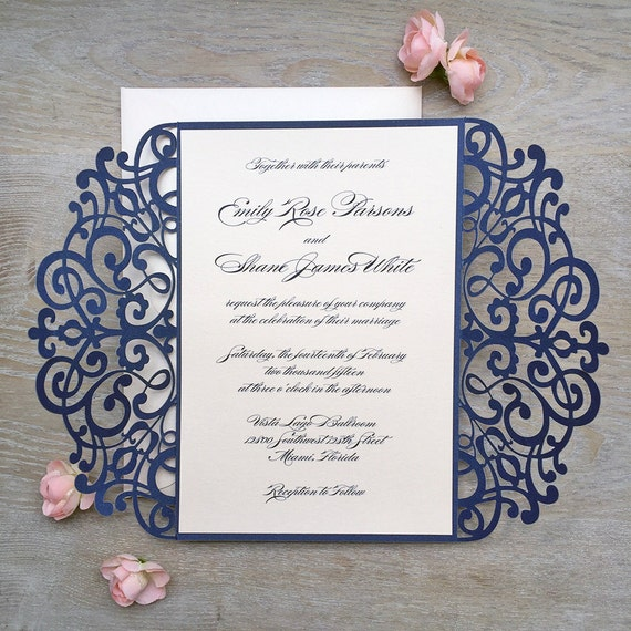 EMILY - Navy and Blush Laser Cut Wedding Invitation - Glittering Navy Laser Cut Gatefold invite with Blush Pink/Pale Peach Insert and Ribbon