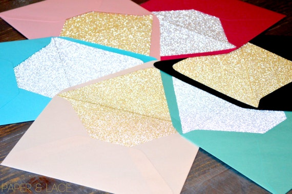 Glitter Envelope Liners - Silver Glitter & Gold Glitter Liners - For Wedding Invitations and Special Occasions