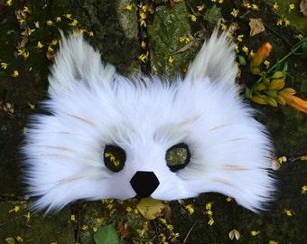 White Wolf Faux Fur Mask
