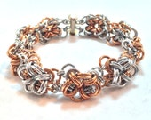 Chunky Steampunk Chainmaille Bracelet - Bronze & Aluminum - Bicubix - Chainmail Jewelry