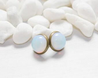 Round Opalite Earrings, Opal Birthstone Earrings, Post Earrings, Nickel Free, October Birthstone, Gemstone Jewelry, Opalite Opal Jewelry