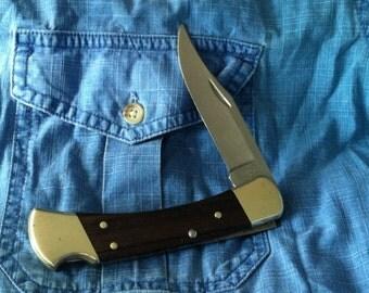 Vintage Buck 110 Hunter- Lock back knife . 1976 --4 dot