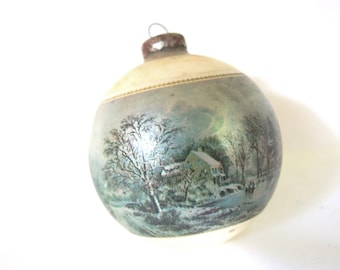 Vintage 1975 Currier and Ives Christmas Ornament - Large USA Ornament