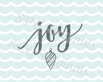 SVG Christmas Joy art with ornament cutting file. Vector. Merry Christmas. Joy.