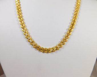 14Kt Yellow Gold 6.5 mm, 18 inch- 3 Row Fancy Chain