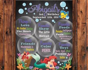 Little Mermaid Poster, Mermaid Birthday Poster, Chalboard Poster, Personalized Poster, Mermaid Birthday Sign, Little Mermaid Invitation