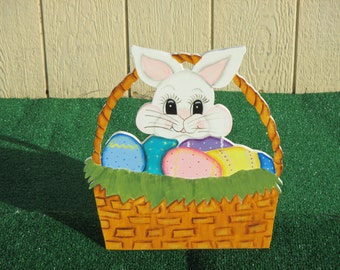 Easter Bunny  in Basket Yard Sign