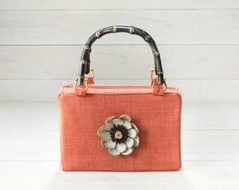 Orange Purse, Vintage Look with Leather Flower and Bamboo Handles