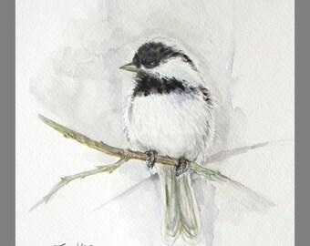 """Original Water Color Painting,  Bird in Grey, 8""""x10"""", 160406"""