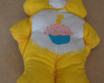 Vintage 1980's - Care Bear Pillow, yellow with birthday cupcake -